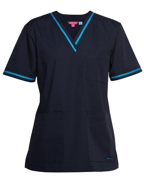 Ladies Essential Contrast Scrubs Top - Navy/Aqua