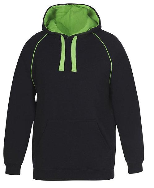 Contrast Fleece Hoodie - Black/Green