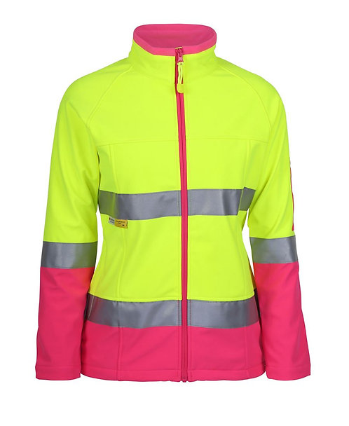 Womens Hi Vis (D+N) Softshell Jacket with 3M Tape - Lime/Pink