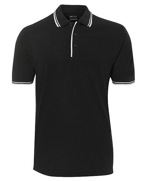 Mens Contrast Polo - Black/White