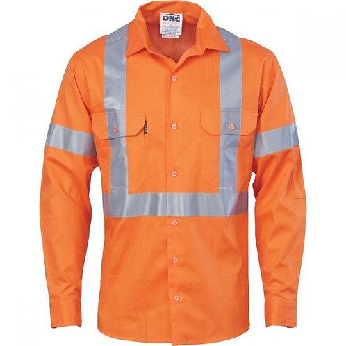 Unisex Cotton Shirt X Back CSR T L/S - NSW Rail Compliant