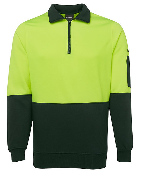 Hi Vis 1/2 Zip Fleecy Sweat - Lime/Bottle