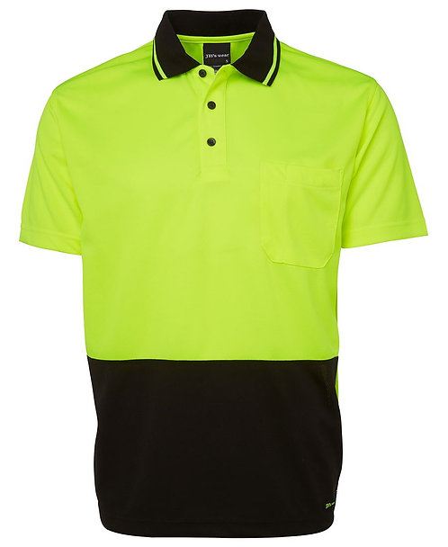 Hi-Vis Non Cuff Traditional Polo - Lime/Black