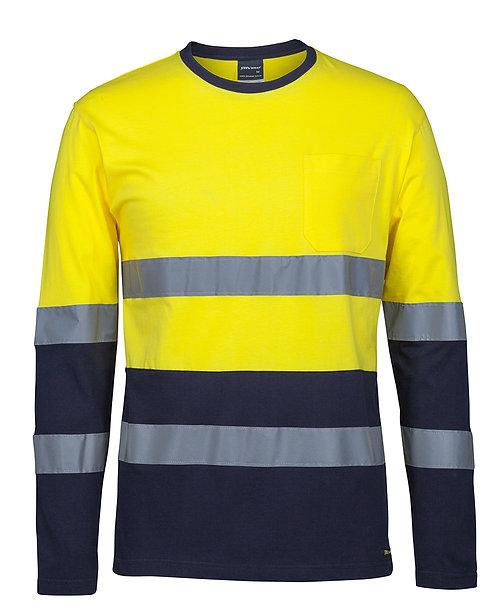 D+N L/S Crew Neck Cotton T-Shirt - Yellow/Navy