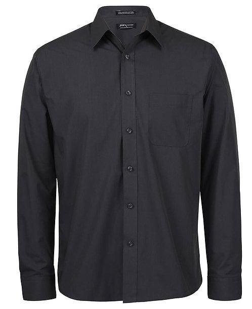 JB's Mens LS Poplin Shirt - Charcoal