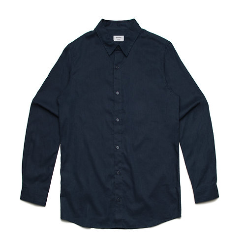 AS Colour Cotton/Linen Shirt Navy - Available from