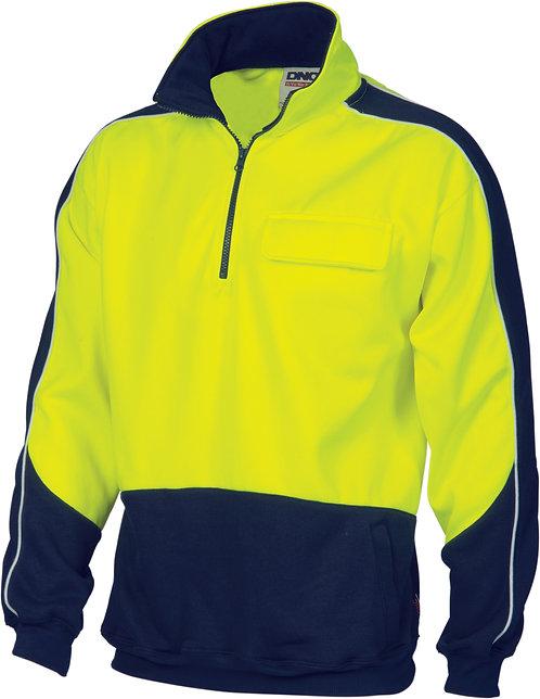 Hi Vis 2 Tone 1/2 Zip Hi-Neck Panel Fleecy Windcheater - Safety Yellow/N