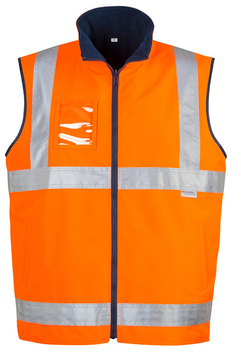 Syzmik Mens Hi-Vis Lightweight Fleece Lined Vest- Orange / Navy