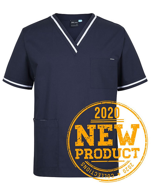 Unisex Contrast Essential Scrubs Top - Navy/White