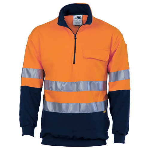HiVis Two Tone 1/2 Zip Cotton Fleecy Windcheater with 3M R/Tape - Orange/Navy