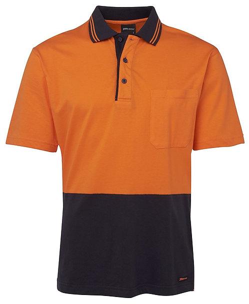 Hi Vis S/S Cotton Polo - Orange/Navy