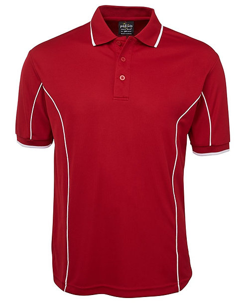 Mens S/S Piping Polo - Red/White