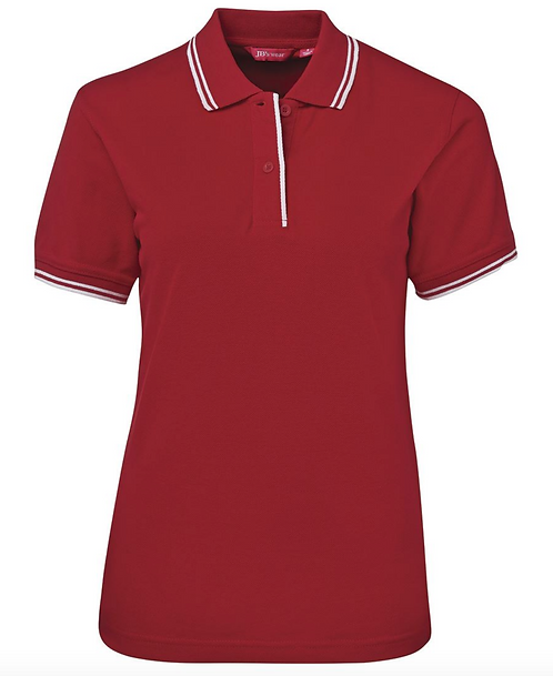 LADIES CONTRAST POLO - RED / WHITE