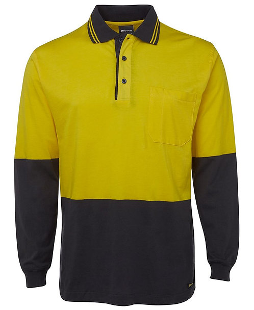Hi Vis L/S Cotton Polo - Yellow/Navy