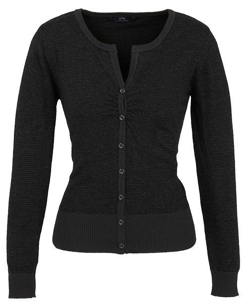 Womens 100% Fine Merino Wool Cardigan - Black/Charcoal