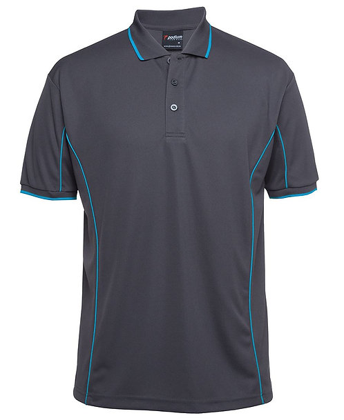 Mens S/S Piping Polo - Grey/Aqua