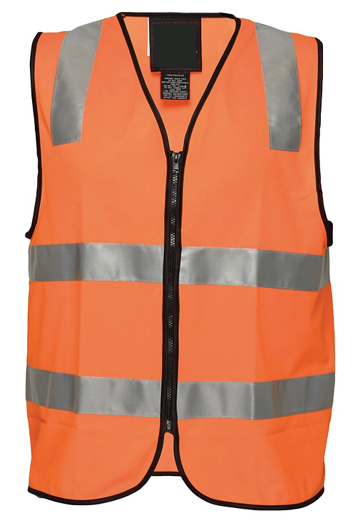 Printed Visitor Day/Night Vest with Zip - Orange