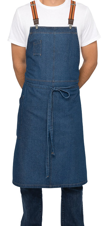 Berkeley Mid Blue Chefs Bib Apron - Straps Included