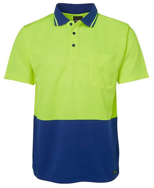 Hi-Vis Non Cuff Traditional Polo - Lime/Royal