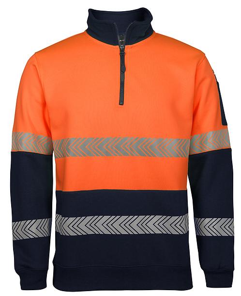 Hi Vis 1/2 Zip Segmented Tape Fleece - Orange/Navy