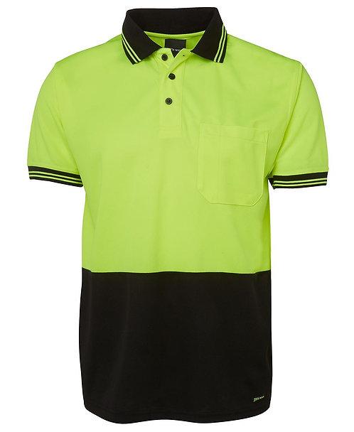 JB's Wear Hi-Vis S/S Traditional Polo - Lime/Black