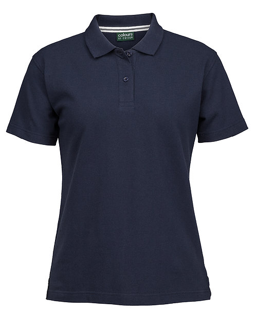 Ladies 100% Cotton Pique Polo Shirt - Navy
