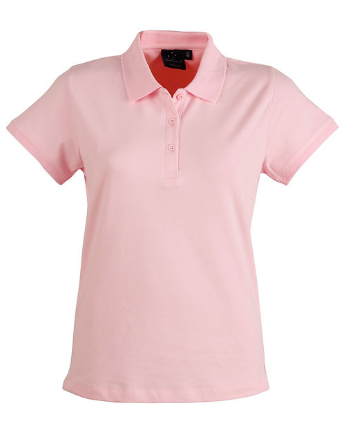 Ladies Cotton Stretch Pique Polo - Pale Pink
