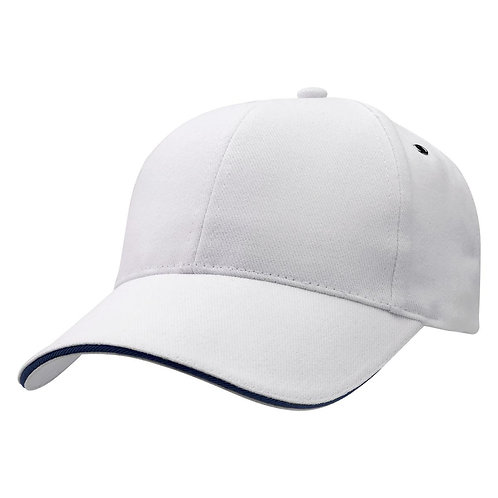 Sandwich Peak Cap White/Navy -  Pack of 10