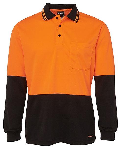 Hi-Vis L/S Polo - Orange/Black