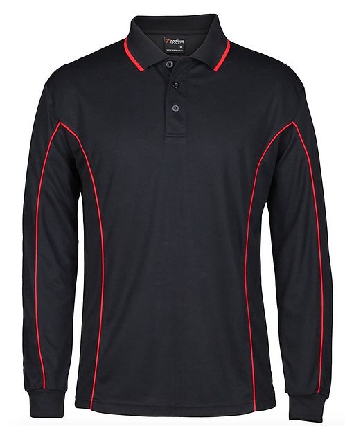 PODIUM L/S PIPING POLO - BLACK / RED
