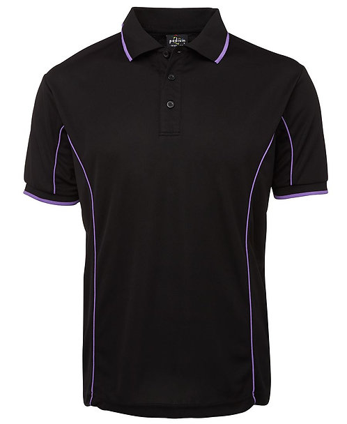 Mens S/S Piping Polo - Black / Purple