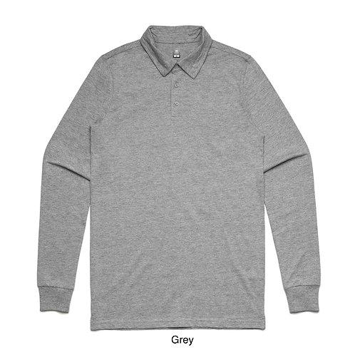 Mens L/S Polo Jersey Shirt Grey