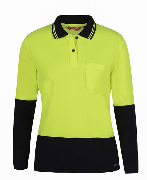 Womens Hi Vis L/S Comfort Polo - Lime/Navy