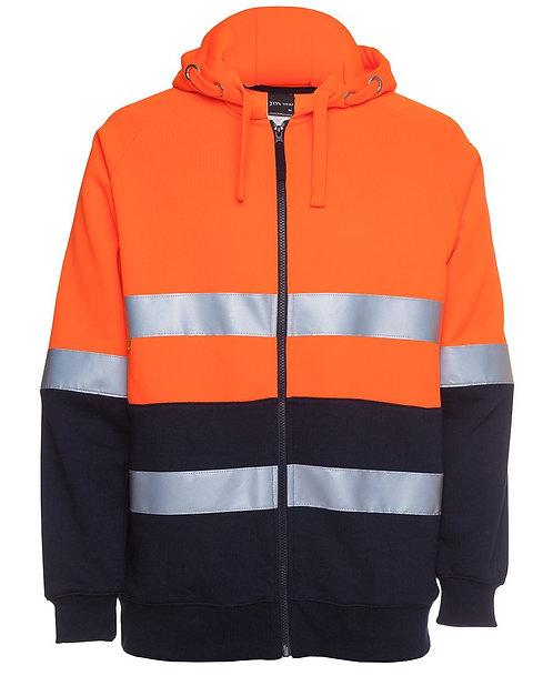Hi Vis (D+N) Full Zip Fleecy Hoodie - Orange/Navy
