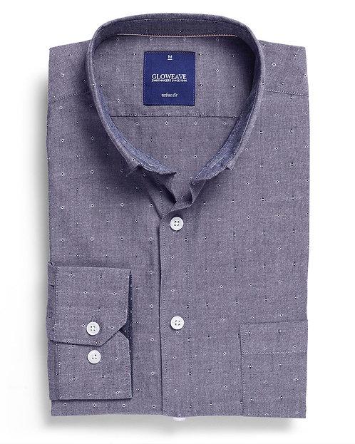 Mens Dobby Spot 100% Cotton Denim Shirt