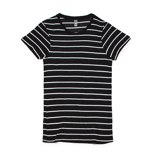 AS Colour Womens Basic Stripe Tee Black/White - Available from