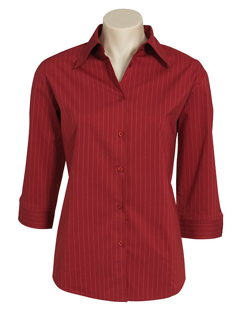 Ladies Manhattan 3/4 Sleeve Shirt - Cherry/White