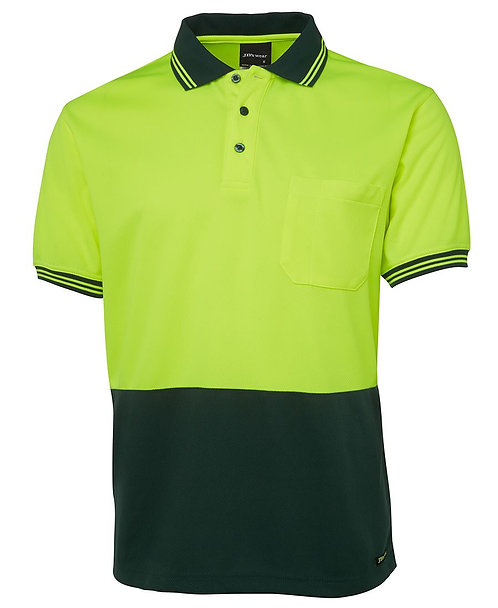 Hi-Vis S/S Traditional Polo - Lime/Bottle