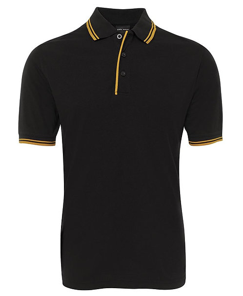 Mens Contrast Polo - Black / Gold