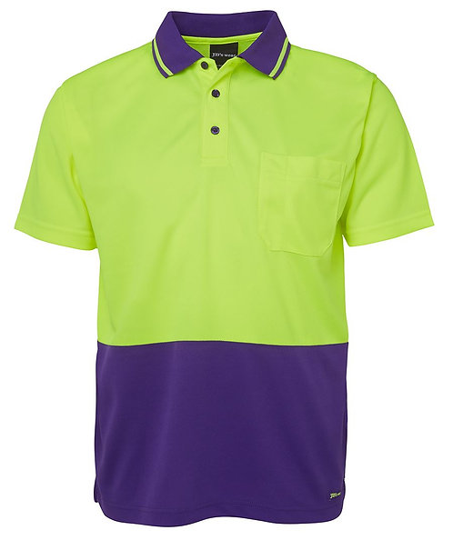 Hi-Vis Non Cuff Traditional Polo - Lime/Purple