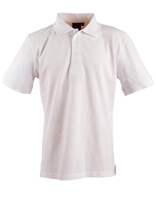 Mens 100% Combed Cotton Pique Polo - White