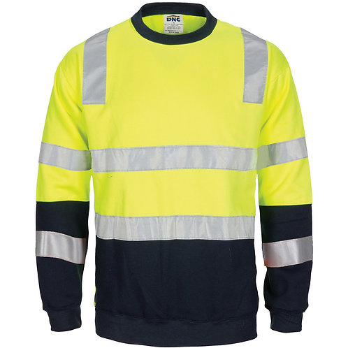 Hi Vis 2 tone, crew-neck fleecy with CSR R/Tape - Yellow/Navy