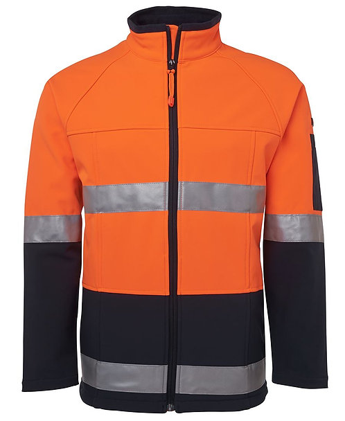 Hi Vis (D+N) Softshell Jacket - Orange/Navy