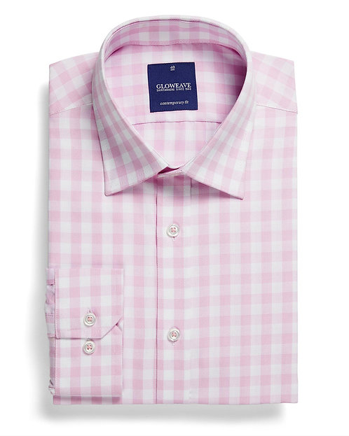 Mens Oxford Gingham Shirt Pink