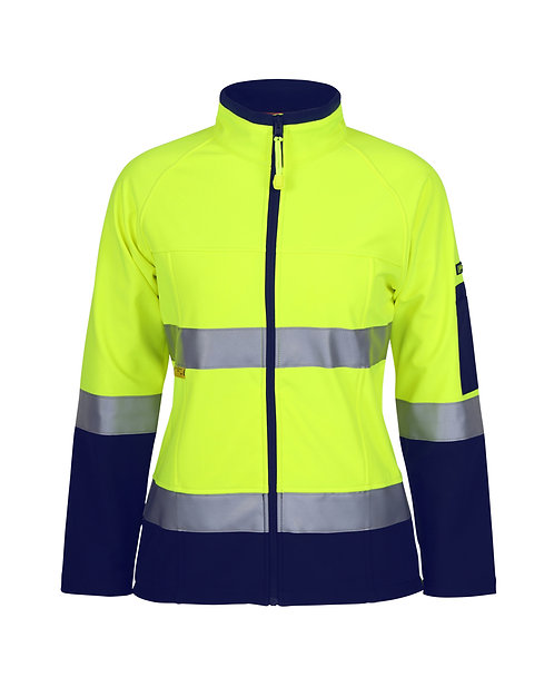 Womens Hi Vis (D+N) Softshell Jacket with 3M Tape - Lime/Navy