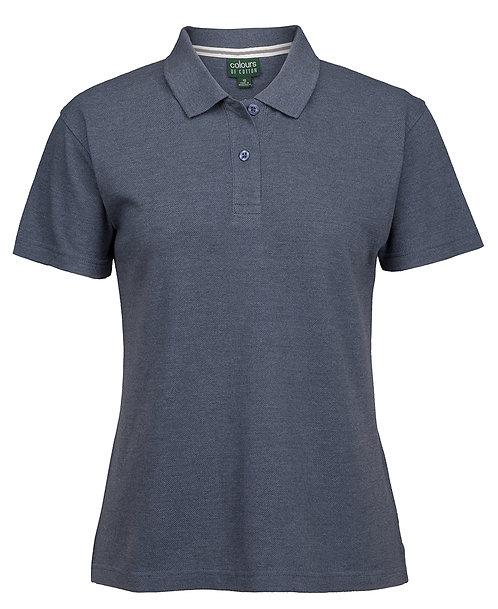 Ladies Cotton Rich Pique Polo Shirt - Denim Marle