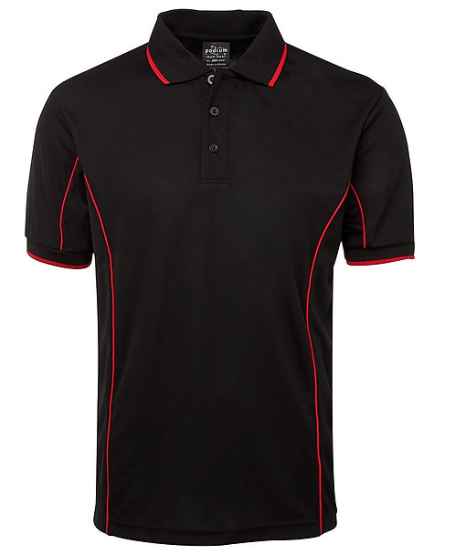 Mens S/S Piping Polo - Black/Red