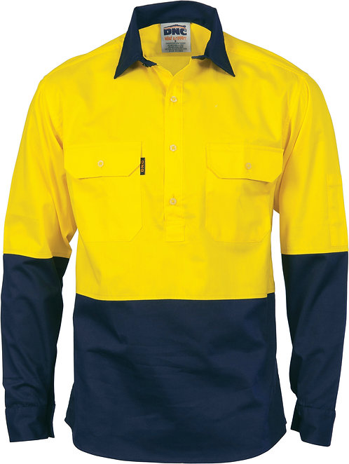 Hi Vis Two Tone Close Front Cotton Drill Shirt - Yellow/Navy