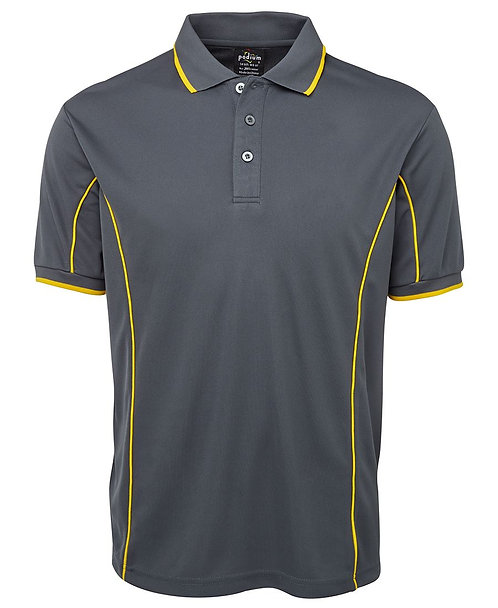 Men's S/S Piping Polo -  Grey/Yellow