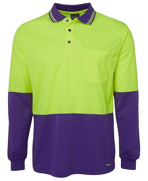 Hi-Vis L/S Polo - Lime/Purple